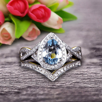 1.75 Carat Pear Shape Teardrop Aquamarine Bridal Set Diamond Wedding Ring On 10k White Gold