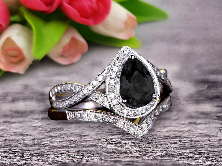 1.75 Carat Pear Shape Teardrop Black Diamond Moissanite Bridal Set Diamond Wedding Ring On 10k White Gold