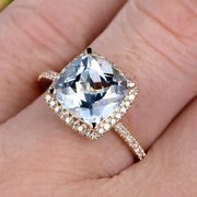 1.50 Carat Cushion Cut Aquamarine Diamond Engagement Ring On 10k Aquamarine Yellow Gold Ring