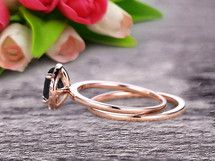 1.25 Carat Round Cut Black Diamond Moissanite Engagement Ring with Plain Matching Band On 10k Rose Gold