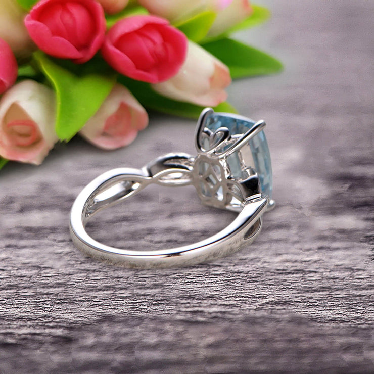 Art Deco 1.25 Carat Cushion Aquamarine Engagement Ring on 10k White Gold