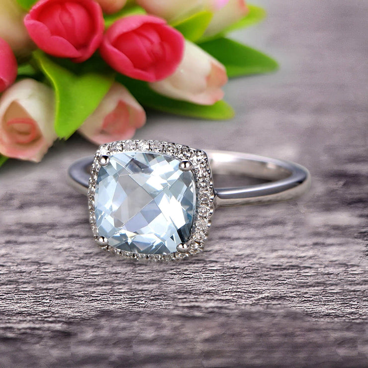 1.25 Carat Cushion Aquamarine Engagement Ring on 10k White Gold Halo