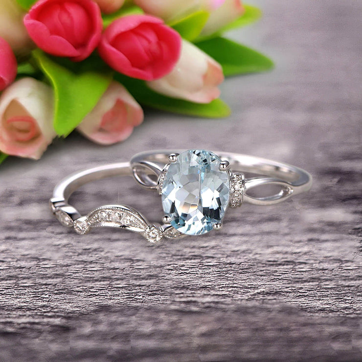 1.50 Carat Oval Cut Aquamarine Bridal Ring Set With Curved Loop Stacking Matching Wedding Band On 10k White Gold