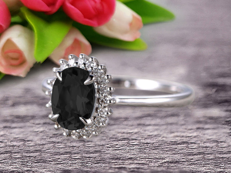 1.25 Carat Oval Cut Black Diamond Moissanite Engagement Ring With 10k White Gold Halo Flower Prong Set