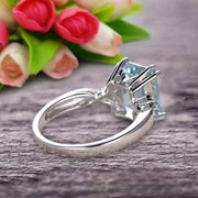 Emerald Cut 1.25 Carat Aquamarine Engagement Ring Anniversary Gift On 10k White Gold