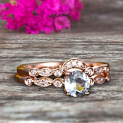 Classic 10k Rose Gold 1.50 Carat Round Cut Natural Aquamarine Engagement Ring With Matching Wedding Band Anniversary Gift Art Deco