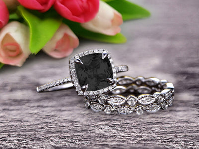 2 Carat Cushion Cut Black Diamond Moissanite Bridal Set Engagement Wedding Ring 10k White Gold Full Eternity Art Deco With Two Matching Band