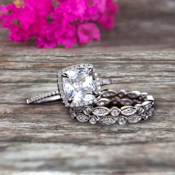 2 Carat Cushion Cut Moissanite Bridal Set Engagement Wedding Ring 10k White Gold Full Eternity Art Deco With Two Matching Band