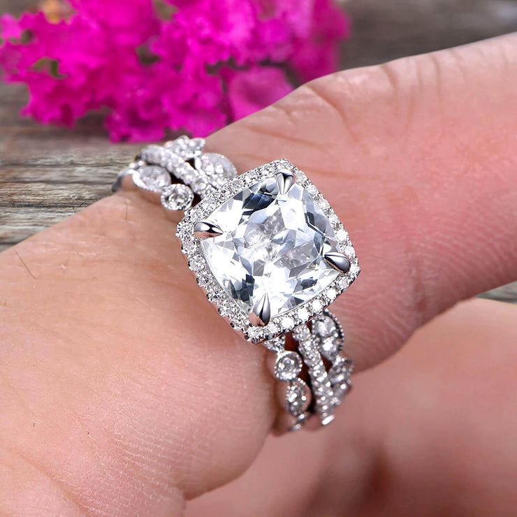 4 Carat Cushion Cut Moissanite Bridal Set Engagement Wedding Ring 10k White Gold Full Eternity Art Deco With Two Matching Band