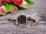 10k Rose Gold Anniversary Gift Art Deco 1.50 Carat Cushion Cut Black Diamond Moissanite Wedding Engagement Ring With Matching Band Bridal Set