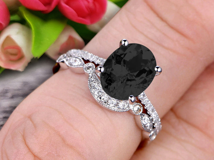 1.5 Carat Oval Cut Black Diamond Moissanite Engagement Ring Set With Matching Band 10k White Gold Art Deco Curved Stacking Gift Ring