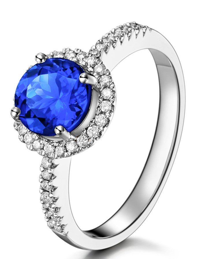 Beautiful 1 Carat Round Blue Sapphire and Moissanite Diamond Halo Engagement Ring in White Gold