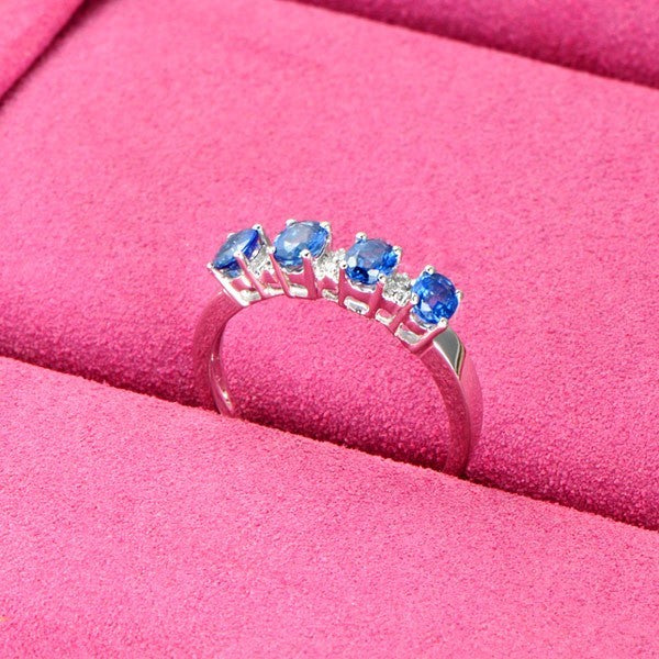 Beautiful Sapphire and Moissanite Diamond Engagement Ring on White Gold