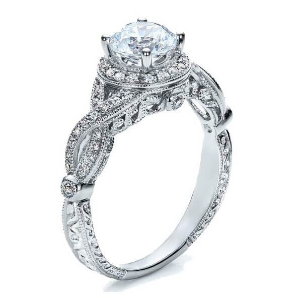 1.50 Carat Round cut Halo Diamond and Moissanite Engagement Ring