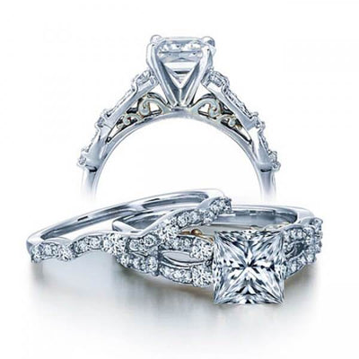 Beautiful 2.00 Carat Round Moissanite Engagement Ring set