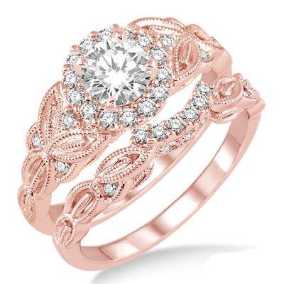 Antique 1.50 Carat Round Moissanite Engagement Ring set on 10k Rose Gold