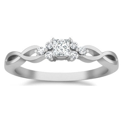Cheap Engagement Ring 1.25 Carat Moissanite Ring with Diamonds on 10k White Gold