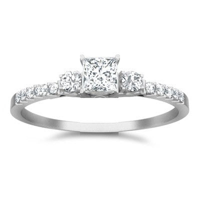Classic Moissanite Bridal Set Engagement Ring 1.50 Carat on 10k White Gold