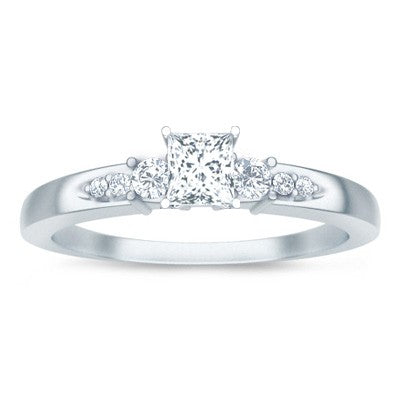 Cheap Moissanite Engagement Ring 1.25 Carat with Real Diamonds on 10k White Gold