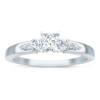 Cheap Moissanite Engagement Ring 1.25 Carat with Real Diamonds