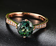Classic 1 Carat Green Emerald and Moissanite Diamond Rose Gold Engagement Ring for Women