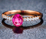 Classic 1 Carat Ruby and Moissanite Diamond Engagement Ring in Rose Gold