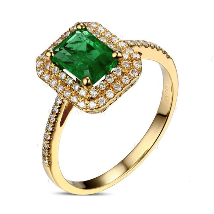 Designer 2 Carat Emerald and Moissanite Diamond double Halo Engagement Ring in Yellow Gold