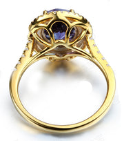 Designer 3 Carat Double Halo Sapphire and Moissanite Diamond Engagement Ring in Yellow Gold