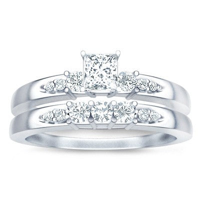 1.50 Carat Classic Moissanite Bridal Set on 10k White Gold