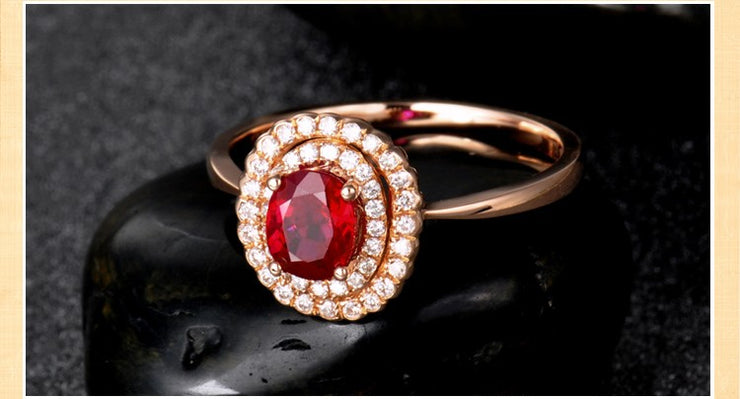 Double Halo 1 Carat Ruby and Moissanite Diamond Engagement Ring in Yellow Gold