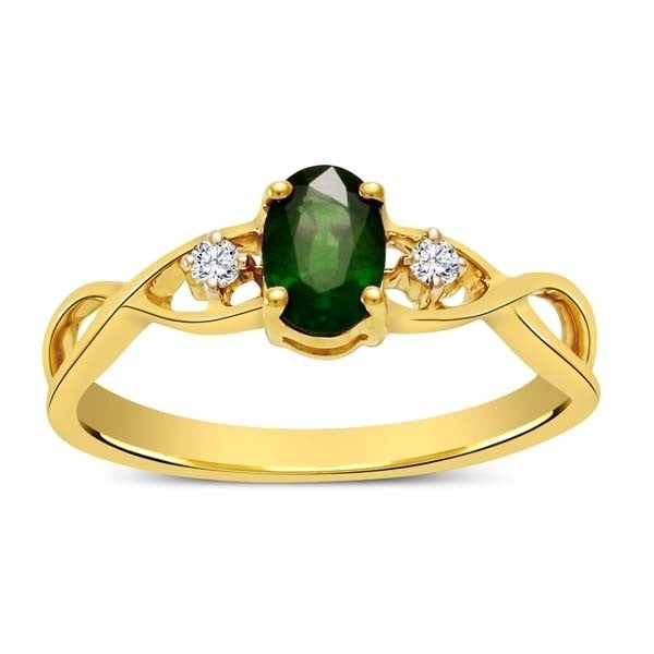Luscious Emerald and Moissanite Diamond Infinity Ring Affordable Engagement Ring 1.10 Carat Moissanite Diamond on Yellow Gold