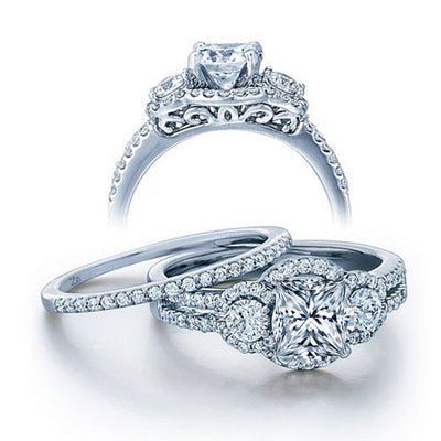 2.50 Carat Princess cut Diamond and Moissanite Wedding Ring Set in 10k White Gold