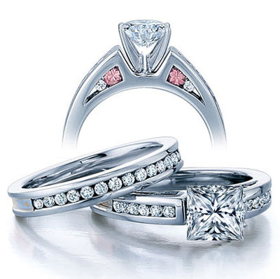 Classic 2.50 Carat Princess cut Diamond and Moissanite Ring Bridal Set in10k White Gold