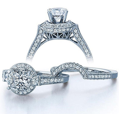 Moissanite Wedding Ring 2.50 Carat Princess cut Diamond Moissanite Ring Set in 10k White Gold