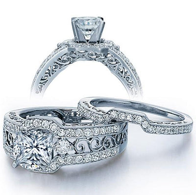 2.50 Carat Princess cut Moissanite Wedding Ring Set
