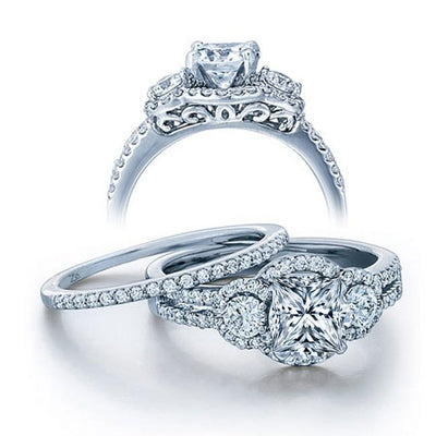 2.50 Carat Princess cut Diamond and Moissanite Wedding Ring Set