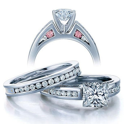 Classic 2.50 Carat Princess cut Diamond and Moissanite Ring Bridal Set