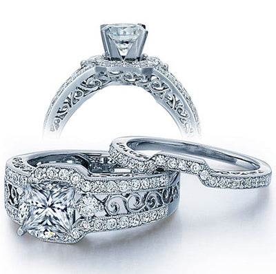 2.50 Carat Princess cut Moissanite Wedding Ring Set in 10k White Gold
