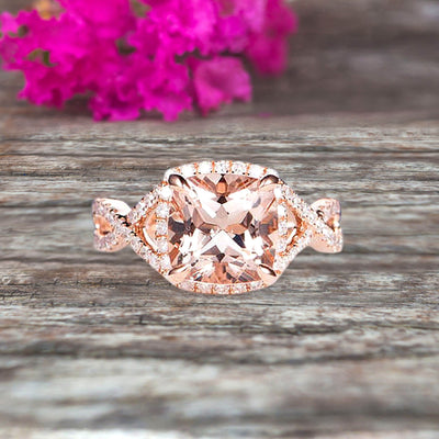 Staggering Looking Cushion Cut Morganite Engagement Ring 10k Rose Gold Halo Wedding Ring Anniversary Promise Surprisingly Ring