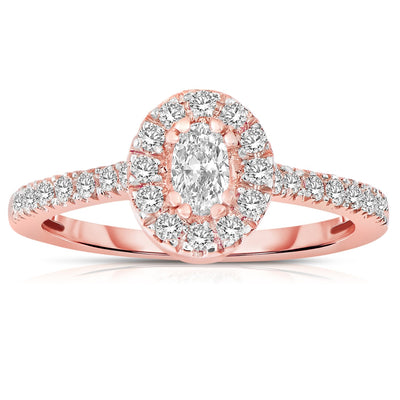 Halo Diamond and Moissanite Engagement Ring 1.50 Carat Oval cut Moissanite in Rose Gold