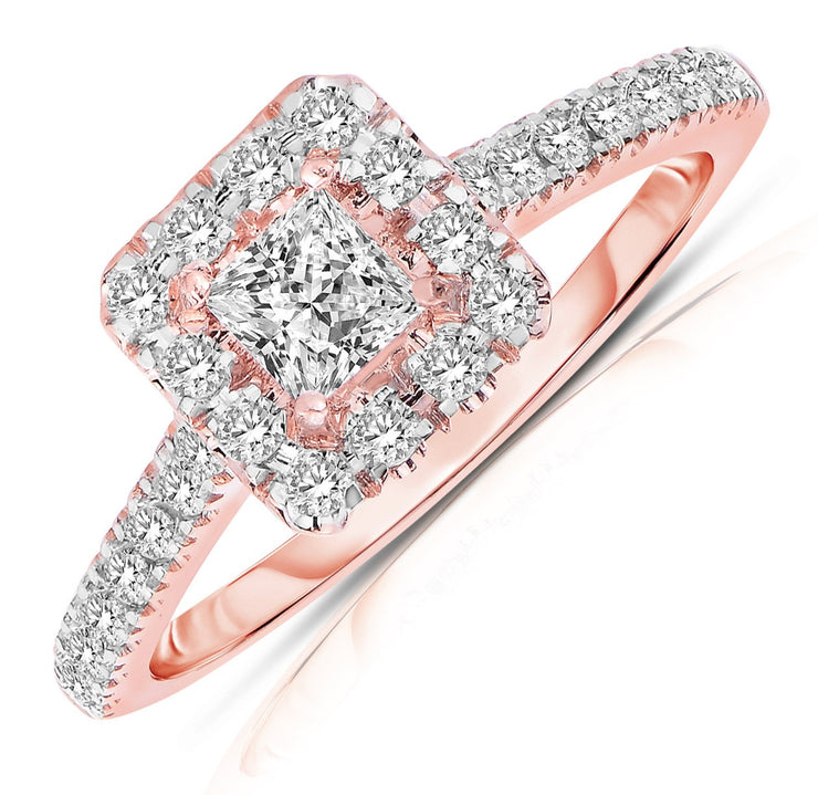 Halo Diamond and Moissanite Engagement Ring 1.50 Carat Princess cut in Rose Gold