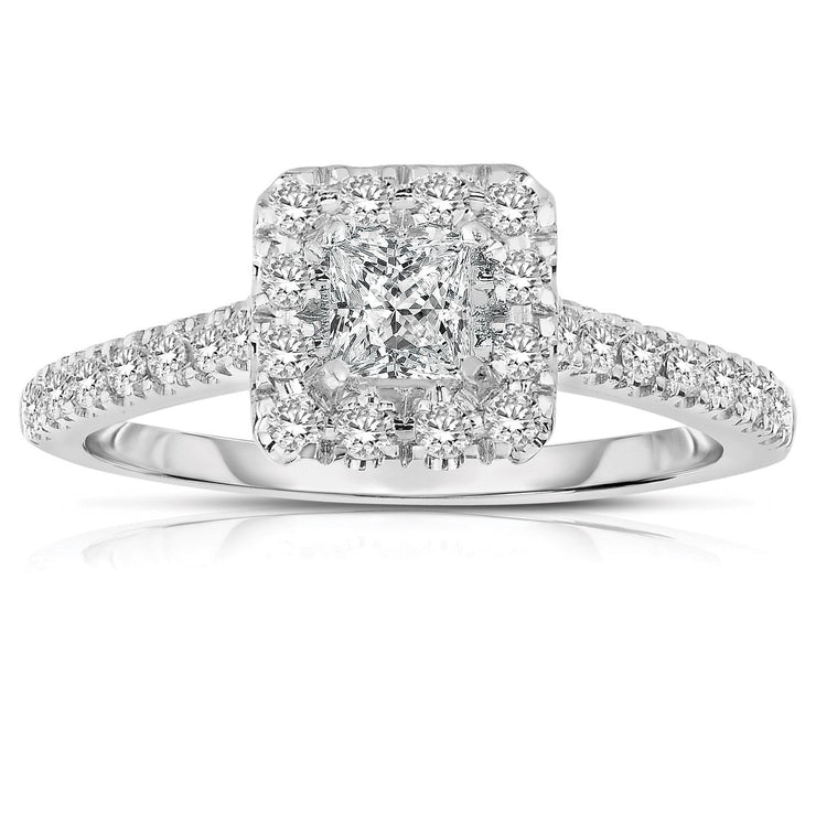 1.50 Carat Princess cut Halo Diamond Moissanite Engagement Ring