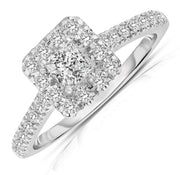 1.50 Carat Princess cut Halo Diamond Moissanite Engagement Ring in White Gold