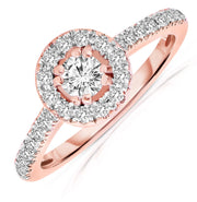 1.50 ct Round cut Moissanite Engagement Ring in halo and 10k rose gold