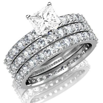 Huge 3 Carat Trio Diamond and Moissanite Wedding Bridal Set