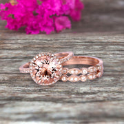 Trio Set Big Morganite Wedding Ring Set Engagement Ring On 10k Rose Gold Stacking Matching Band Round Cut Gemstone Personalized for Brides