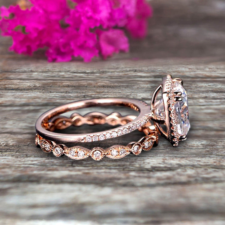 1.75 carat Classic Cushion Moissanite Diamond wedding Bands Engagement Ring on 10k Rose Gold