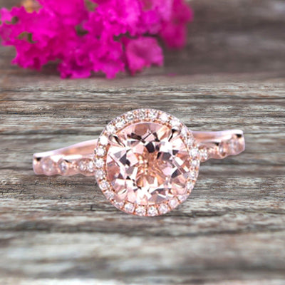 1.50 Carat Round Cut Morganite Ring Engagement Ring Promise Ring Anniversary Ring 10k Rose Gold Pink Gem Stone Art Deco