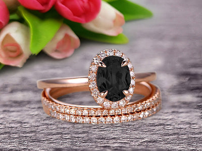 3Pcs 1.75 Carat 10k Rose Gold Black Diamond Moissanite Engagement Ring Set Wedding Set Promise Ring for Bride Oval Cut Gemstone Pink Black Diamond Moissanite Anniversary Ring