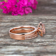3Pcs 1.75 Carat 10k Rose Gold Morganite Engagement Ring Set Wedding Set Promise Ring for Bride Oval Cut Gemstone Pink Morganite Anniversary Ring